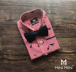 Dad n Son Twinning Bow Tie Shirts - Pink Dino