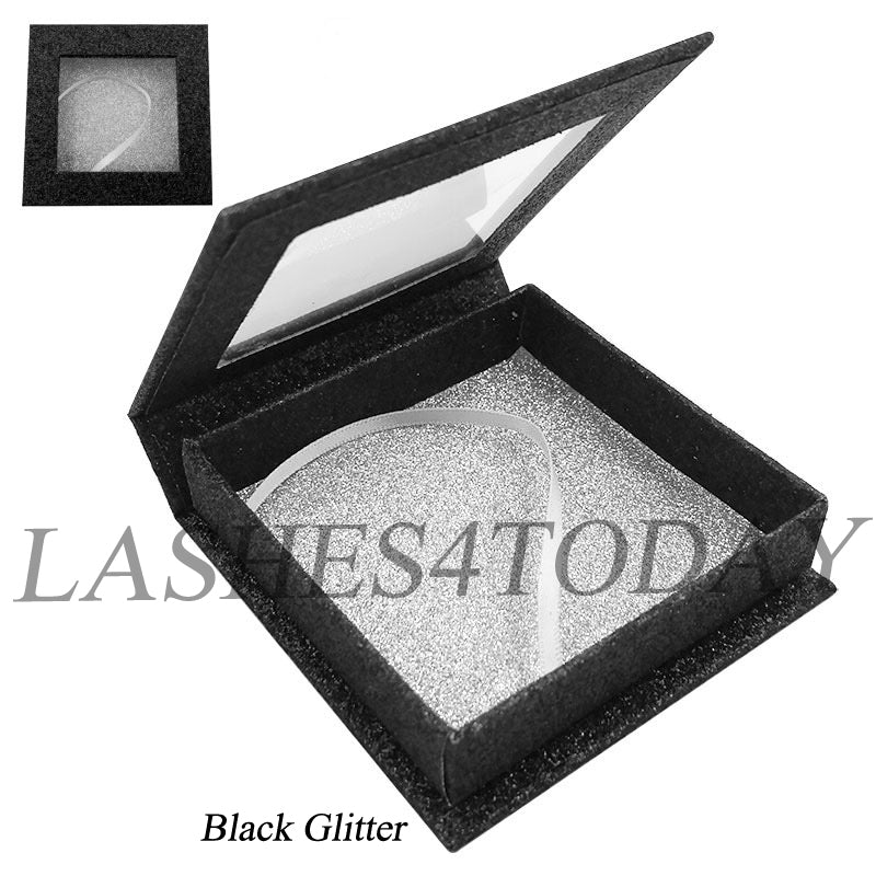 Black Glitter Square Eyelashes Case
