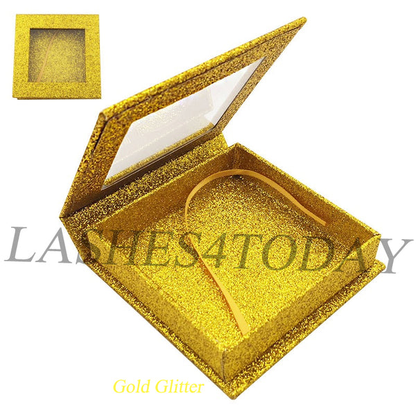 Gold Glitter Square Eyelashes Case