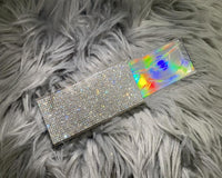 Clear Crystal Bling Rhinestone Rectangular Sliding-Lid Eyelashes Case