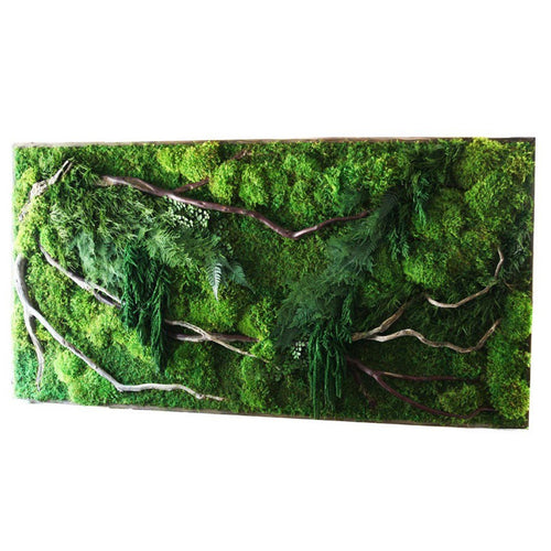 large moss art red branches