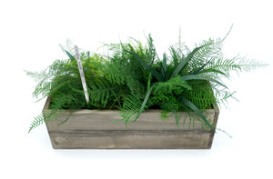 Set of 3 Wooden Planter Boxes with Preserved Moss and Ferns - No Watering