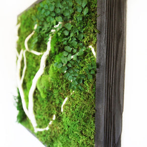 moss wall art with white wood branches