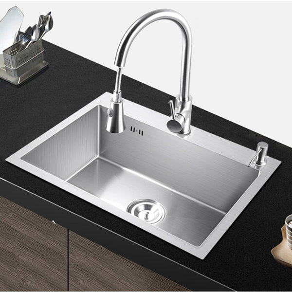 pia kitchen sink single bowl above counter or udermount Installation  Handmade brushed seamless 304 stainless steel sink kitchen