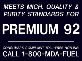 "Meets Michigan...Premium 92- 4""w x 3""h White on Black Decal"