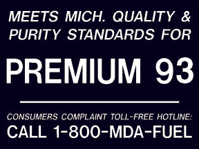 "Decal- ""Meets Michigan...Premium 93"" White on Black"