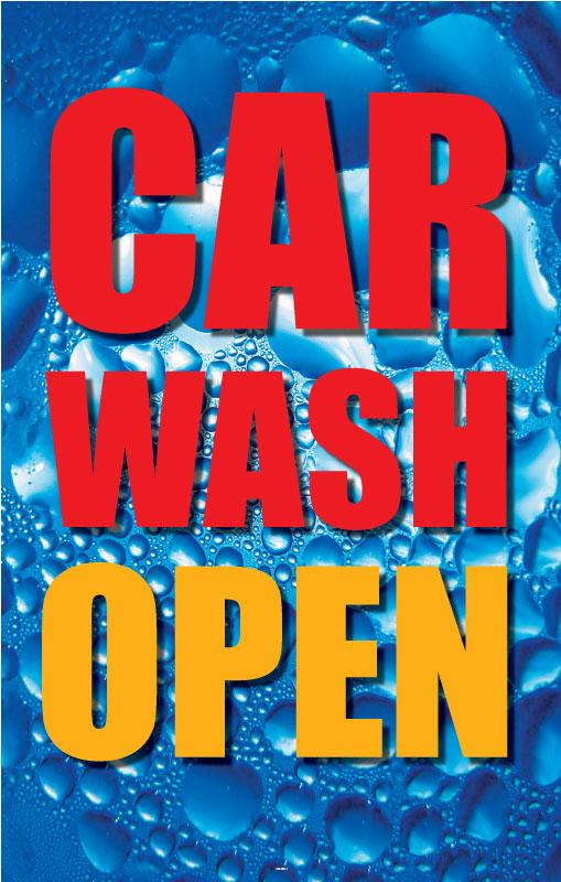 "Car Wash Open- 24""w x 36""h .040 Styrene Insert"