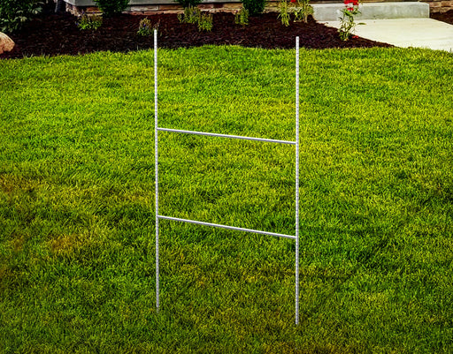 H-Wire Yard Sign Frame displayed on a grassy front yard
