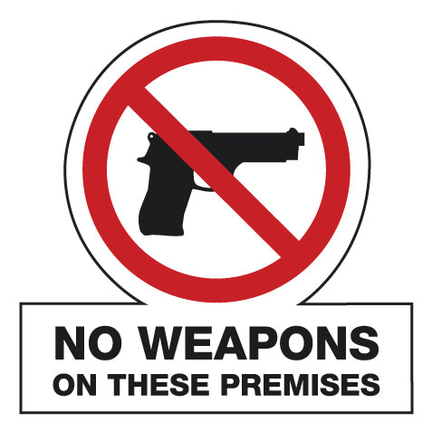 "No Weapons- 6""w x 6""h Decal"
