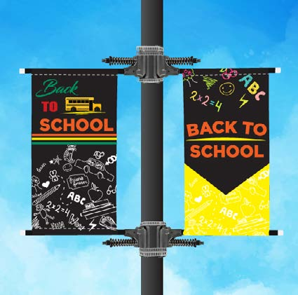 Street Pole Banners hung with Spring Mounting Hardware