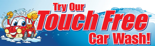 "Horizontal Banner, 10'w x 3'h- ""Touch Free Car Wash"""