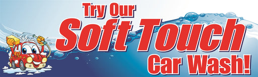 "Horizontal Banner, 10'w x 3'h- ""Soft Touch Car Wash"""