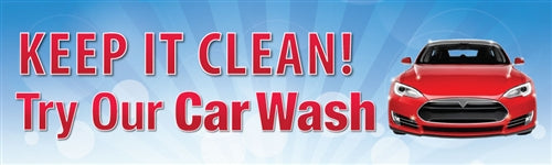 "Horizontal Banner, 10'w x 3'h- ""Try Our Carwash"""