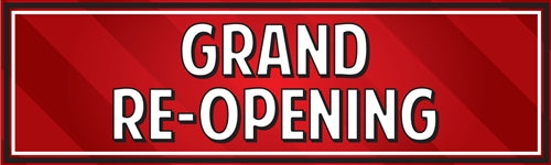 "Horizontal Banner, 10'w x 3'h- ""Grand Re-Opening"""