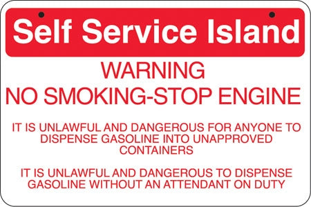 "Aluminum Bracket Sign- ""Self Service Island"""