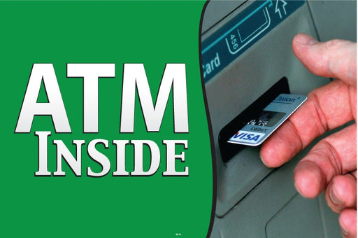 "Aluminum Bracket Sign- ""ATM Available"""