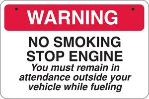 No Smoking Stop Engine- Aluminum Bracket Sign