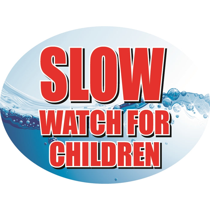 "SLOW for children- 12""w x 8""h Die-Cut Sign Panel"