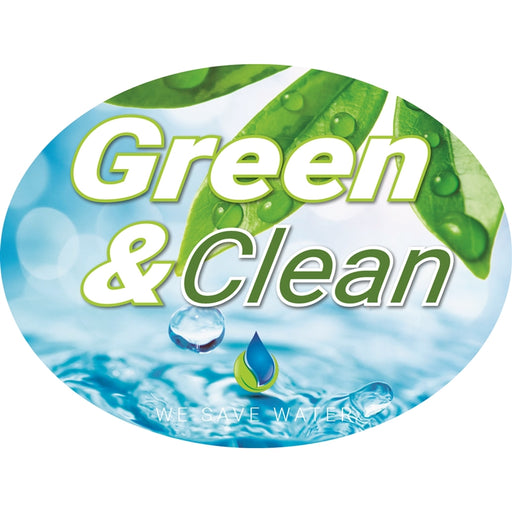 "Green & Clean- 12""w x 8""h Die-Cut Sign Panel"