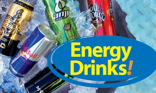 "Energy Drinks- 20""w x 12""h Ceiling Dangler"
