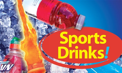 "Sports Drinks!- 20""w x 12""h Ceiling Dangler"