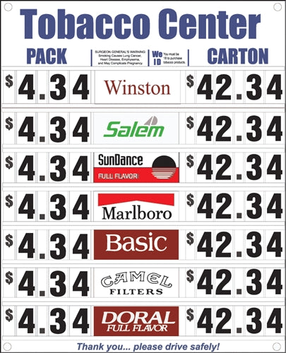 Cigarette Price Signs