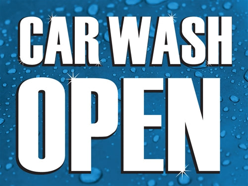 "Car Wash Open- 24""w x 18""h Coroplast Yard Sign"