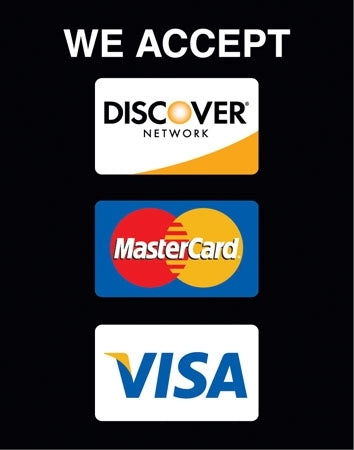 "Insert ""We Accept Discover, Visa, MasterCard"""