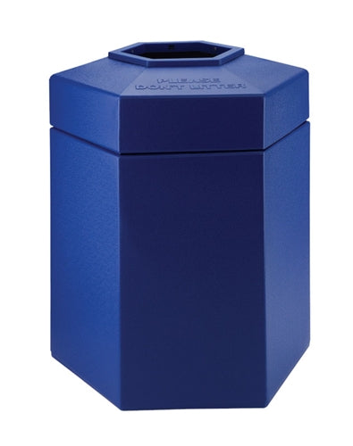 45 Gallon Hex Container- Blue High Density Polyethylene