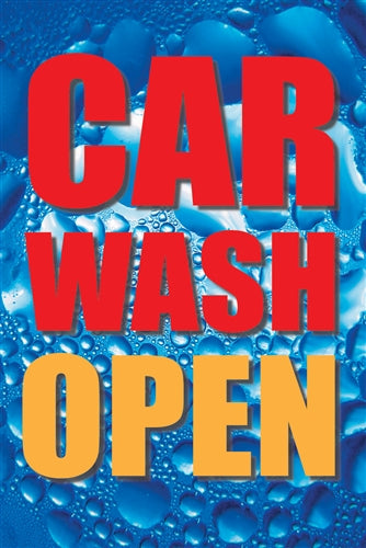 "Car Wash Open- 28""w x 44""h 4mm Coroplast Insert"
