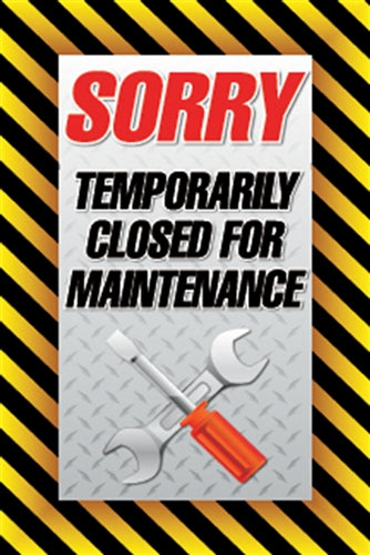 "4mm Single-Sided Insert for Wind Sign Deluxe ""Temporarily Closed for Maintenance"""