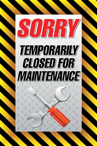 "Temporarily Closed for Maintenance- 24""w x 36""h Aluminum Insert"