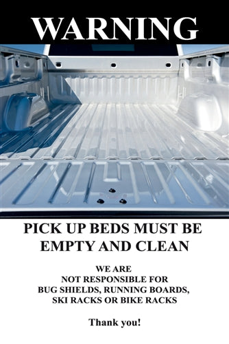 "Pick Up Bed Must Be Empty and Clean- 24""w x 36"" .040 Aluminum Insert"