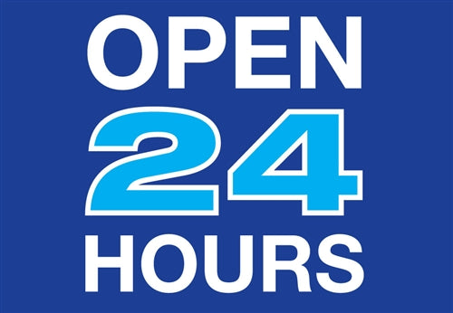 "Die Cut Decal- ""Open 24 Hours"""