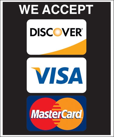 "Styrene Double Message Pump Topper Insert ""We Accept Discover Visa MasterCard"""
