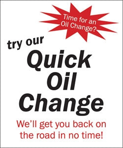 "Styrene Double Message Pump Topper Insert ""Try Our Quick Oil Change"""