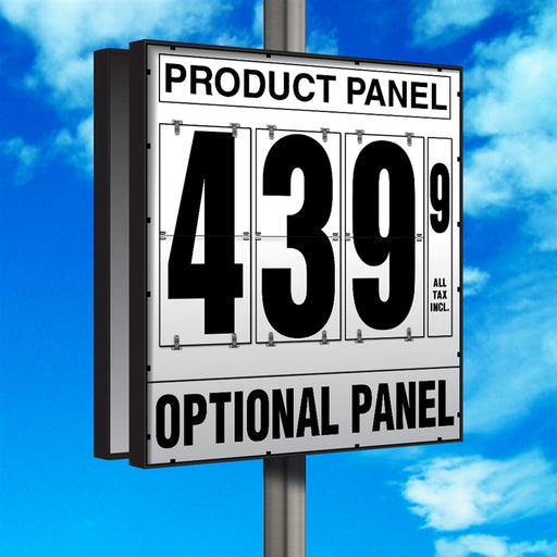 "20"" Flip Numbers- Single-Product, Double-Sided Pole Mount w/ Optional Bottom Panel"