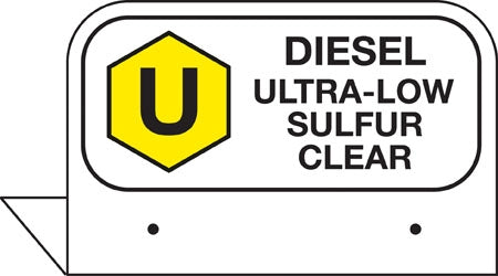 "Aluminum FPI Tags- ""Diesel Ultra-Low Sulfur Clear"""
