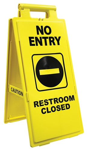 "Floor Sign- ""No Entry Restrooms Closed"""