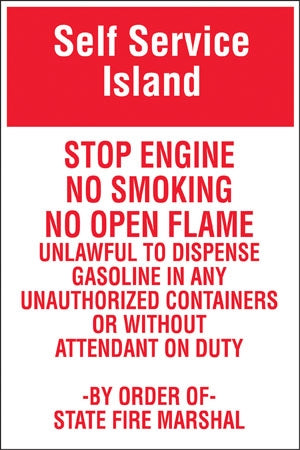 "Self Service - Stop Engine- 24"" x 36"" Aluminum Pole sign"