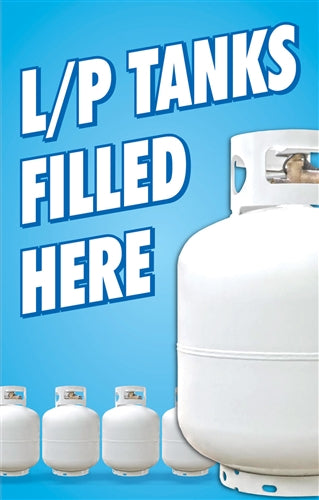 "Aluminum Pole Sign- ""L/P Tanks FILLED HERE"""
