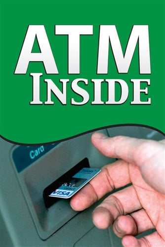 "Aluminum Pole sign- ""ATM Available Inside"""