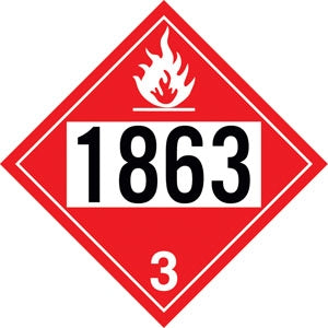 "Styrene Truck Placard- ""1863"" Aviation Fuel"