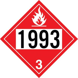 "Styrene Truck Placard- ""1993"" Combustible Liquid"