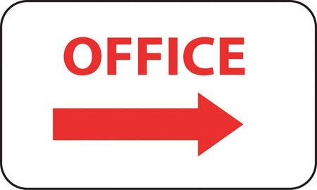 "Aluminum Sign- ""Office"" with Right Arrow"