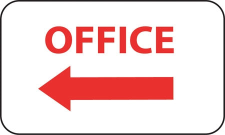 "Aluminum Sign- ""Office"" with Left Arrow"