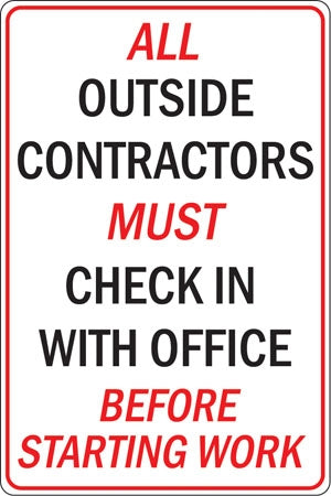 "Aluminum Sign- ""Contractors Must Check In"""