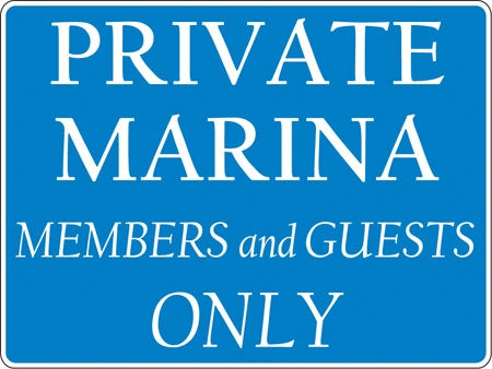 "Aluminum Sign- ""Private Marina"""