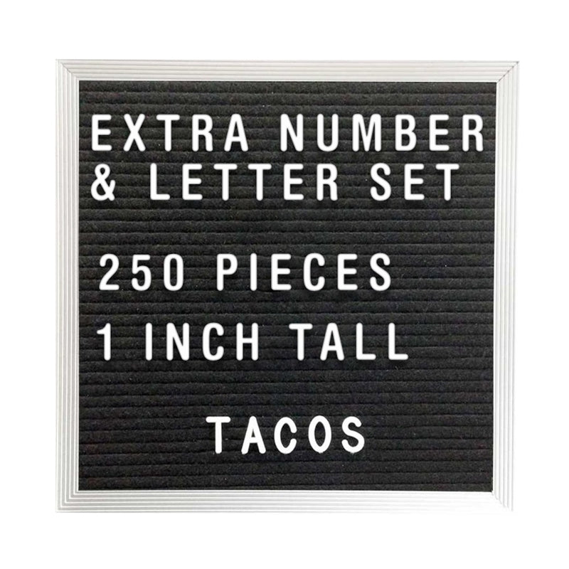 250 Piece Extra Number Letter Set for Menu / Message Board
