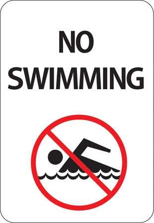 "Aluminum Sign ""No Swimming"" with Symbol"